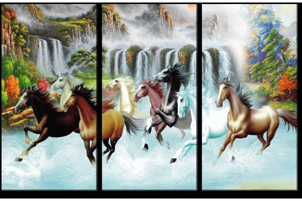 Лошади и водопад