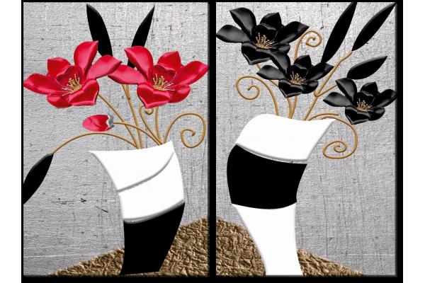 Лилии в черно-белых вазах