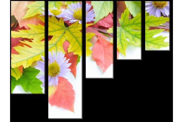 Листья с цветами
