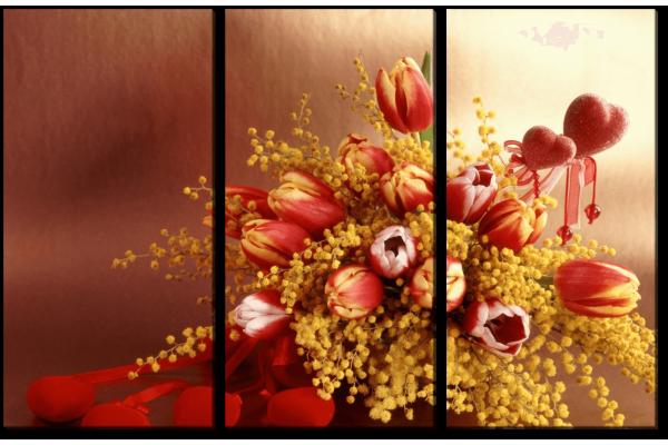 Тюльпаны с мимозой
