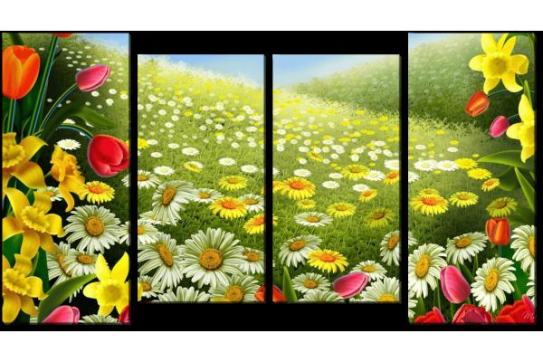 Весенняя поляна цветов