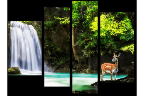Водопад и олень